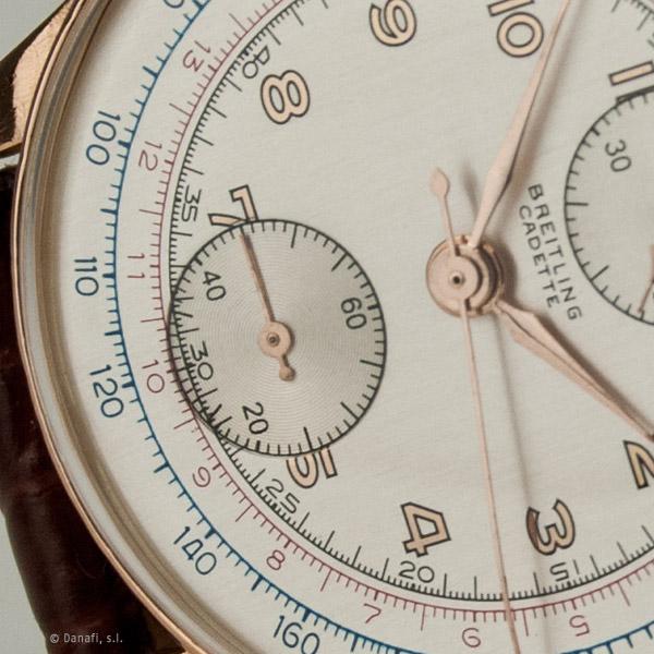 Breitling Cadette vintage. Restauración y reparación reloj crono caja de oro por Danafi, servicio técnico relojero.