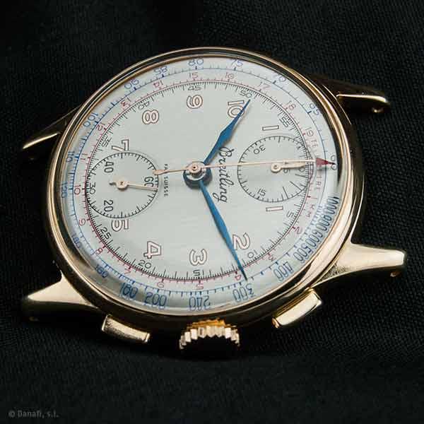 Breitling Fab Suisse restauración reloj chapada en oro cronómetro