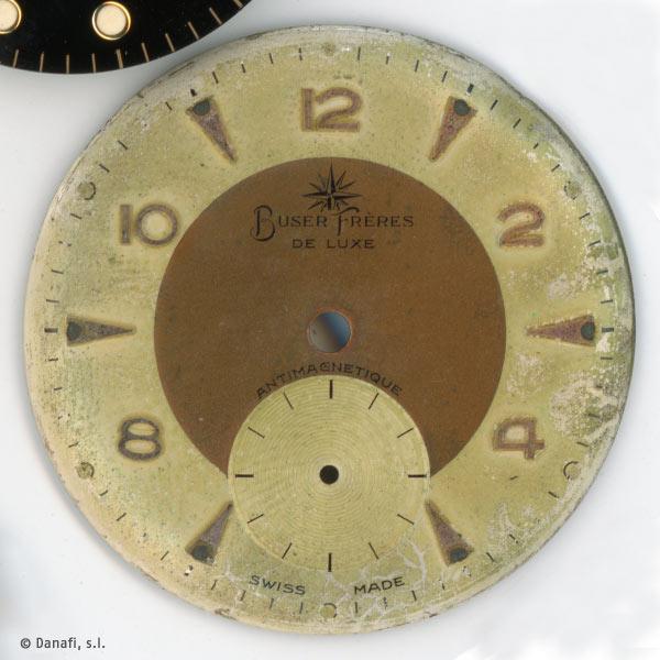 Buser Freres restauracion esfera reloj doble tono Danafi