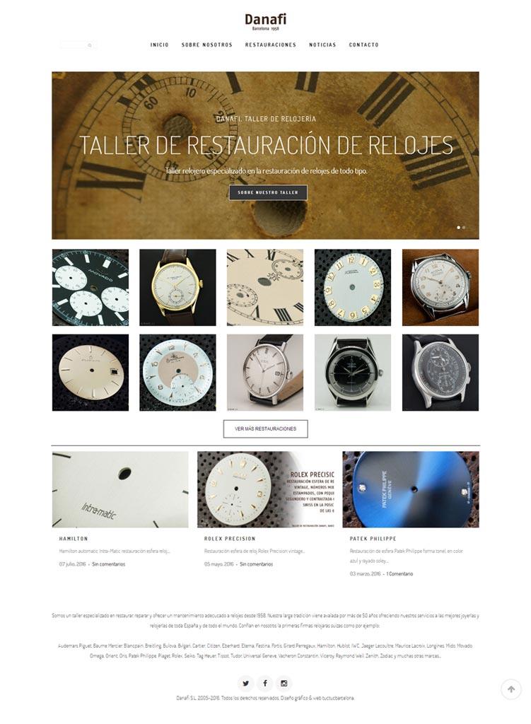 Diseño Gráfico nueva web para taller de relojería especializado en la restauración de relojes