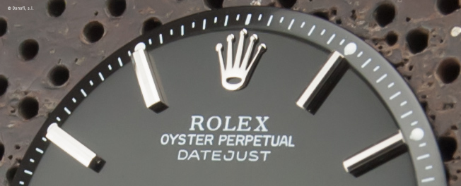 Restauración esfera de reloj Rolex Date Just negra