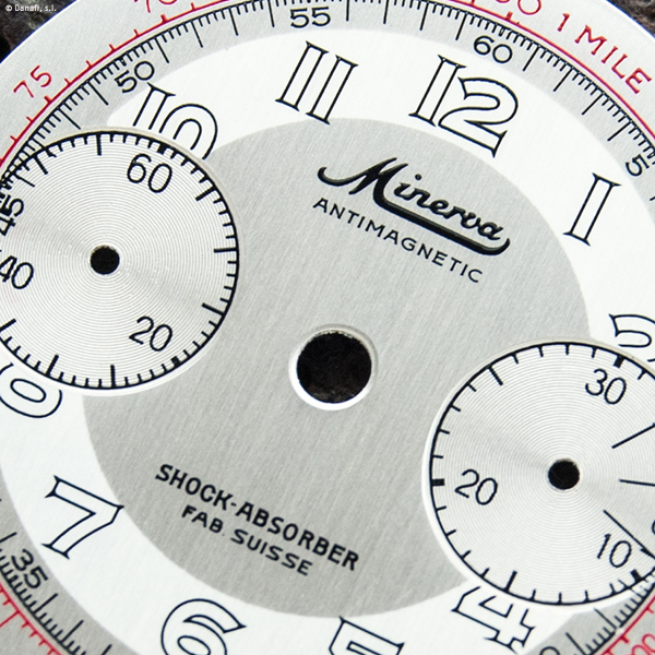 Minerva 1335 Antimagnetic Shock Absorver Fab. Suisse Chronograph dial