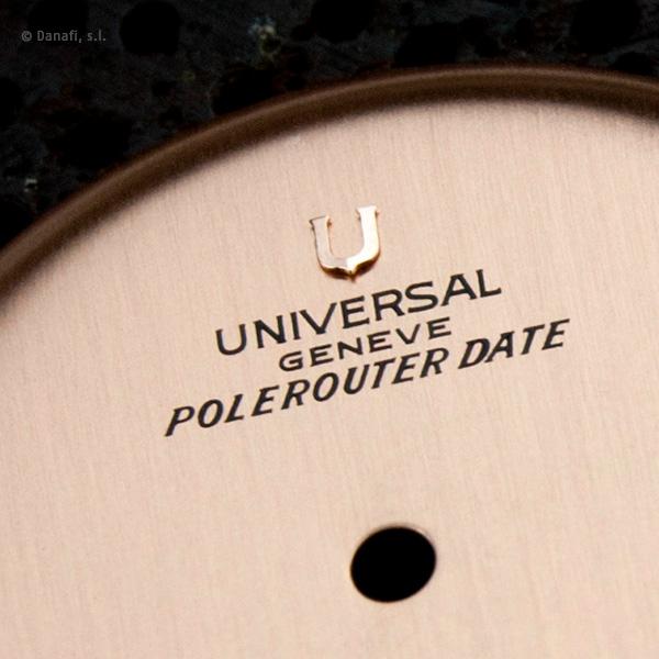 Universal Geneve Polerouter Date restauracion esfera reloj con fondo dorado rosé