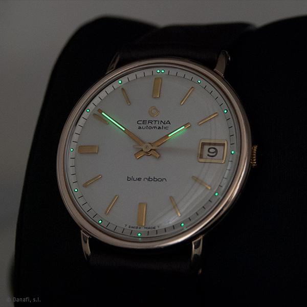 Certina Automatic Blue Ribbon. Restauración reloj chapado en oro. Puntos en la esfera y agujas con SuperLuminova