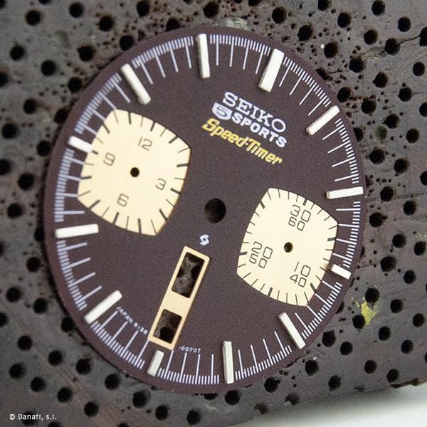 Restauración esfera de reloj marrón y dorado Seiko 5 Sports Speed-Timer Japan 6138-0070T por Danafi